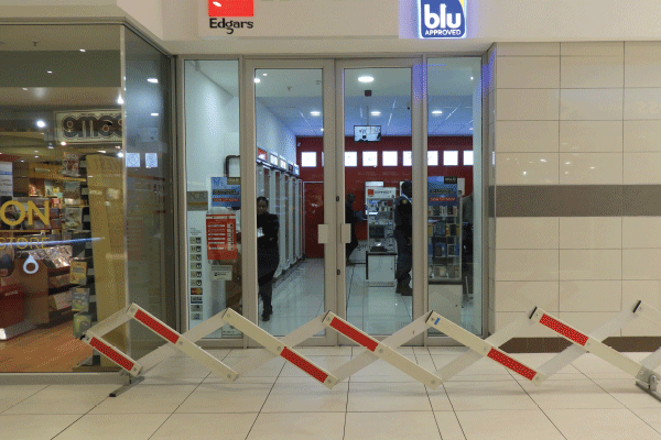 Edgars connect, a crime scene, as the shop was robbed in broad daylight.