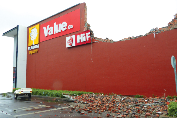 <p>Strong wind damages store at Platinum Square </p>