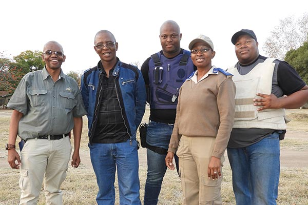 From left: Johannes Makanita, security manager of RLM�s Public Safety department; Solomon Setshedi, Thato Nthite, Charmaine Lekote and Timothy Yabo, all members of Public Safety.