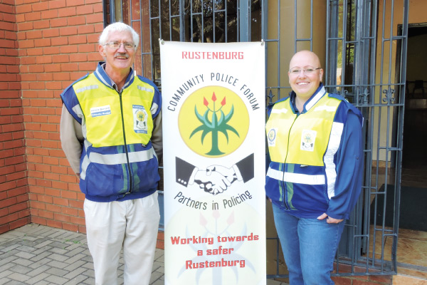 From left: Hennie Barnard and Heidi Bartle of the Rustenburg Crime Combating Forum (RCCF).
