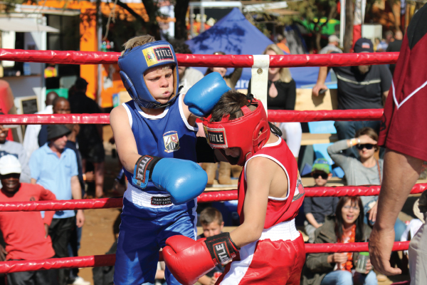 The boxing ring was one of the many activities for the day.