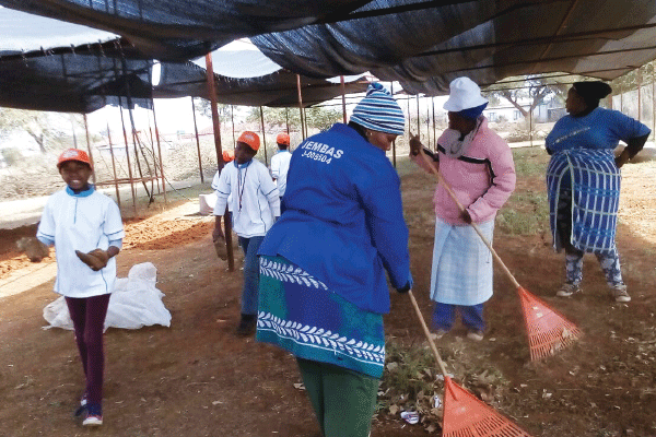 Parents and SGB members helped clean the Mperebere Primary in Ledig.