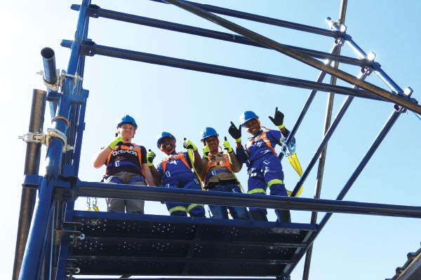Scaffolding training� from left: Viaan Nel of Safety Advantage; Mpho Malao, John Ngwetsana, and Mosimanegape Maetso, all from Platchro Mining Services.